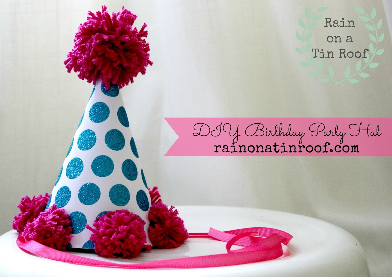 Birthda party hat cake topper