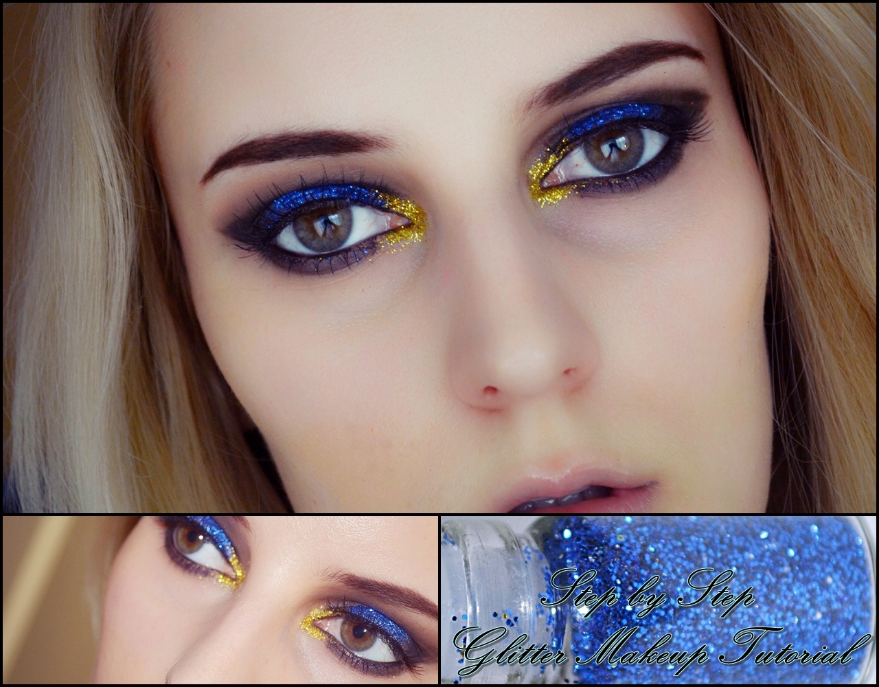 Blue and gold glitter eyes