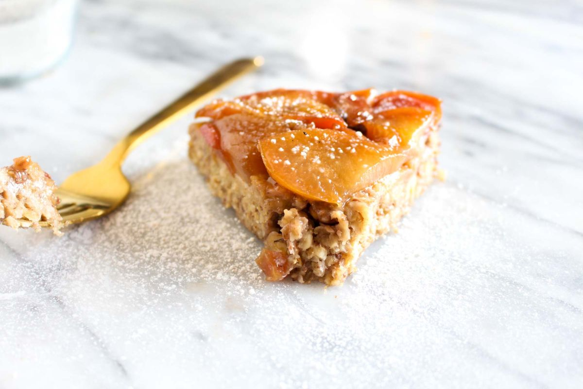 Breakfast upside down plumb oatmeal cake