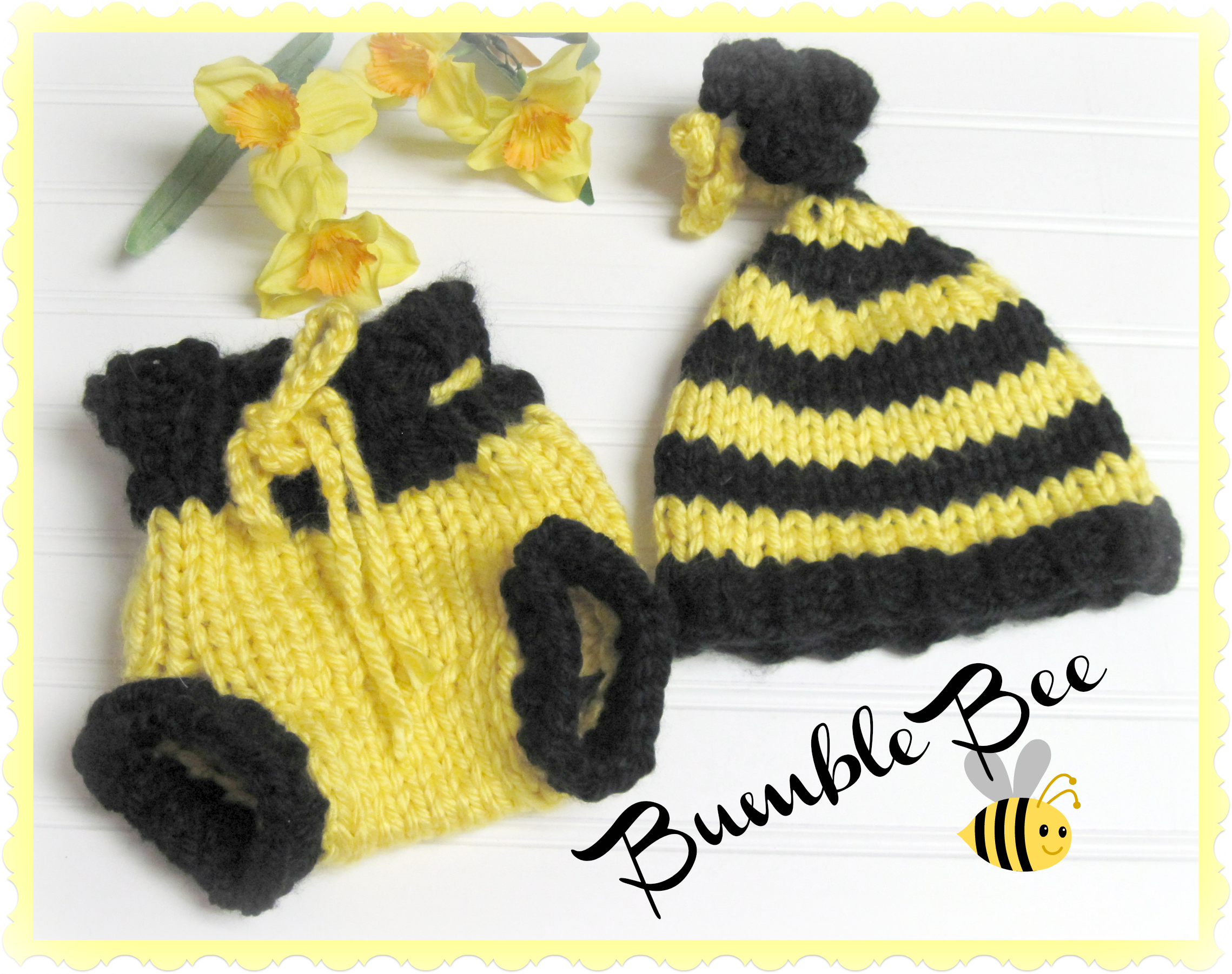 Bumble bee inspired hat and diaper cover