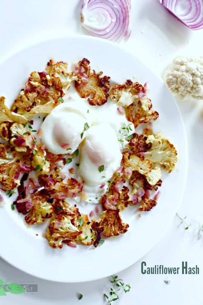 Cauliflower hash with poached eggs