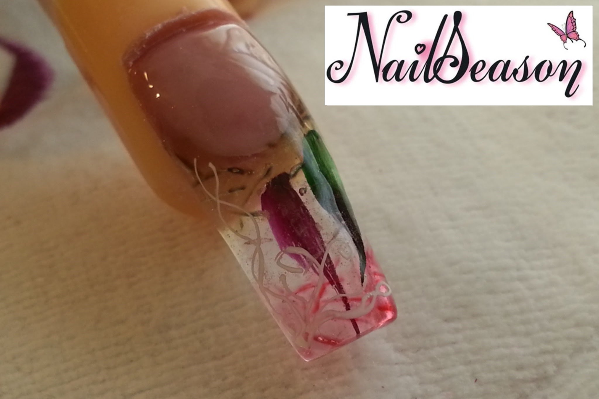 Diy acrylic nail designs clear acrylics with inset petals prinsesfo Choice Image