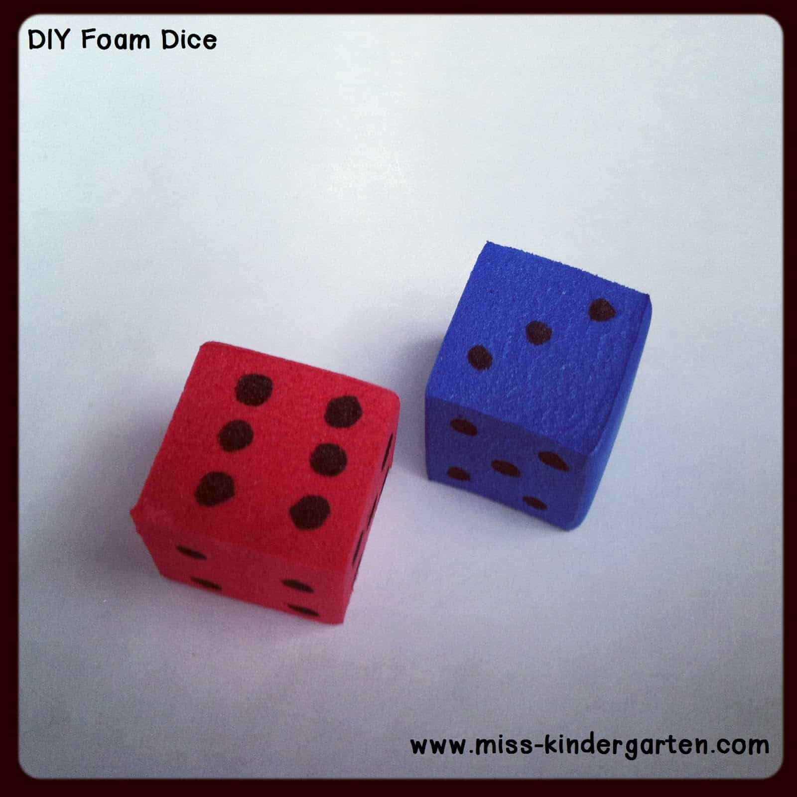 Colourful foam dice
