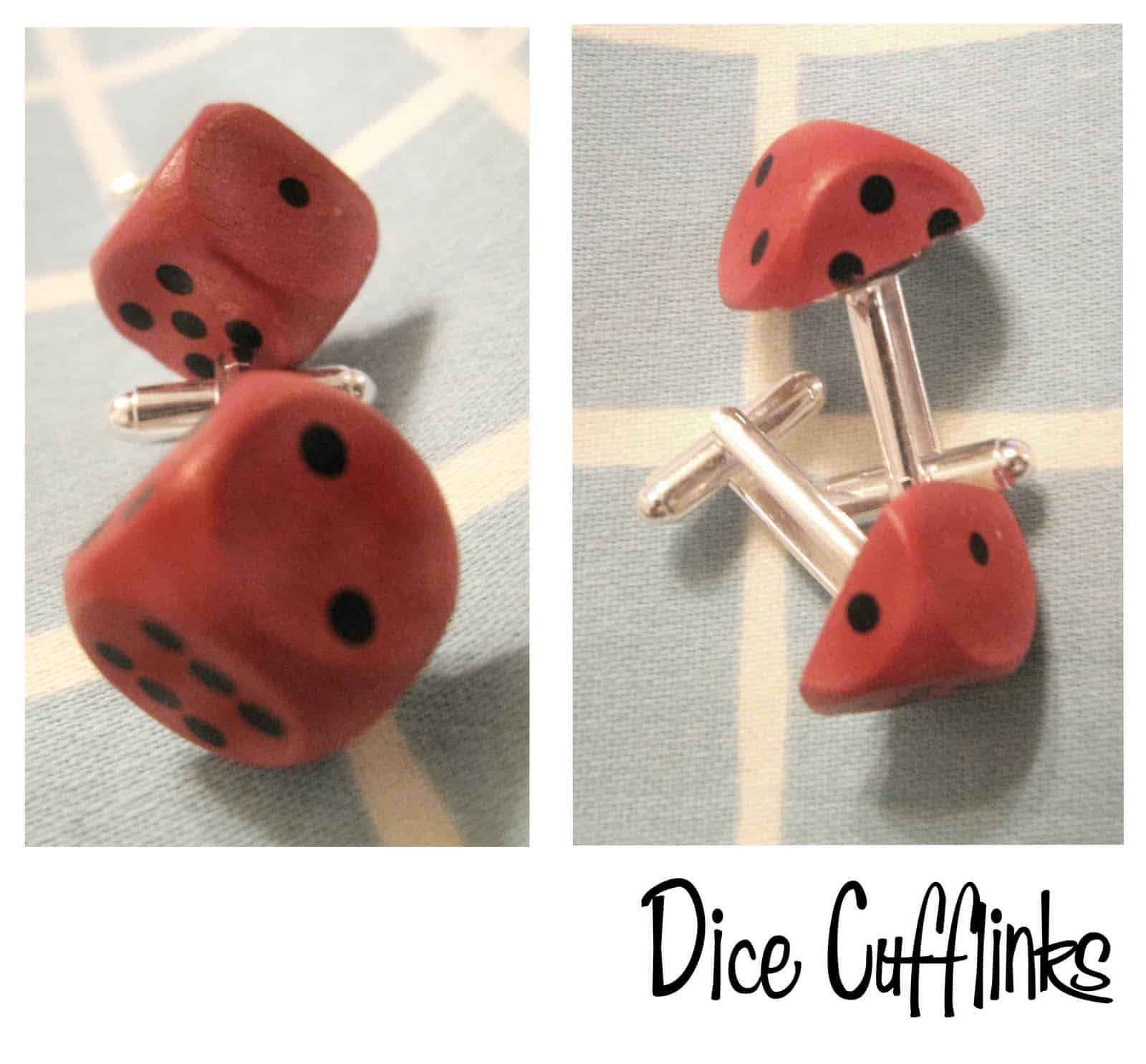 Cufflinks made from dice and watch parts