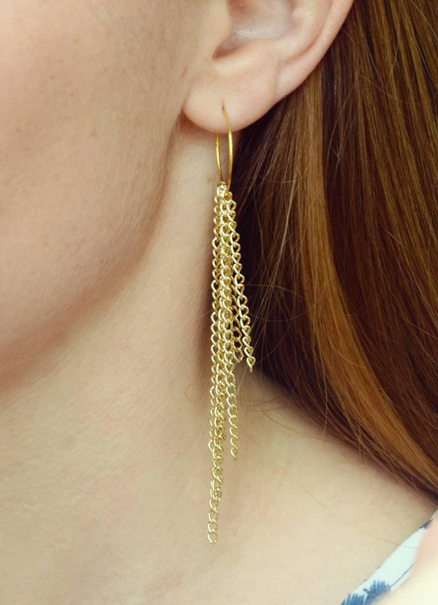 Simple DIY Chain Fringe Earrings Tutorial