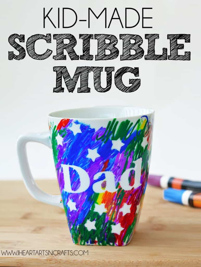 Diy fathers day sharpie mugs kids scribble art