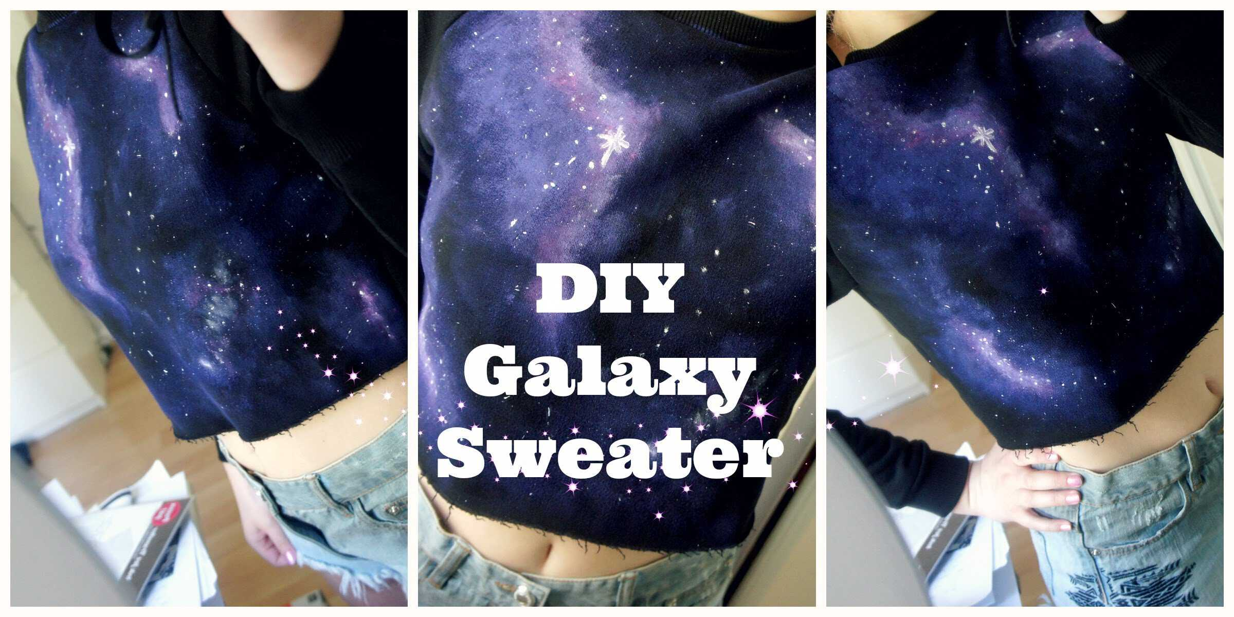 Diy cropped galaxy sweatshirt
