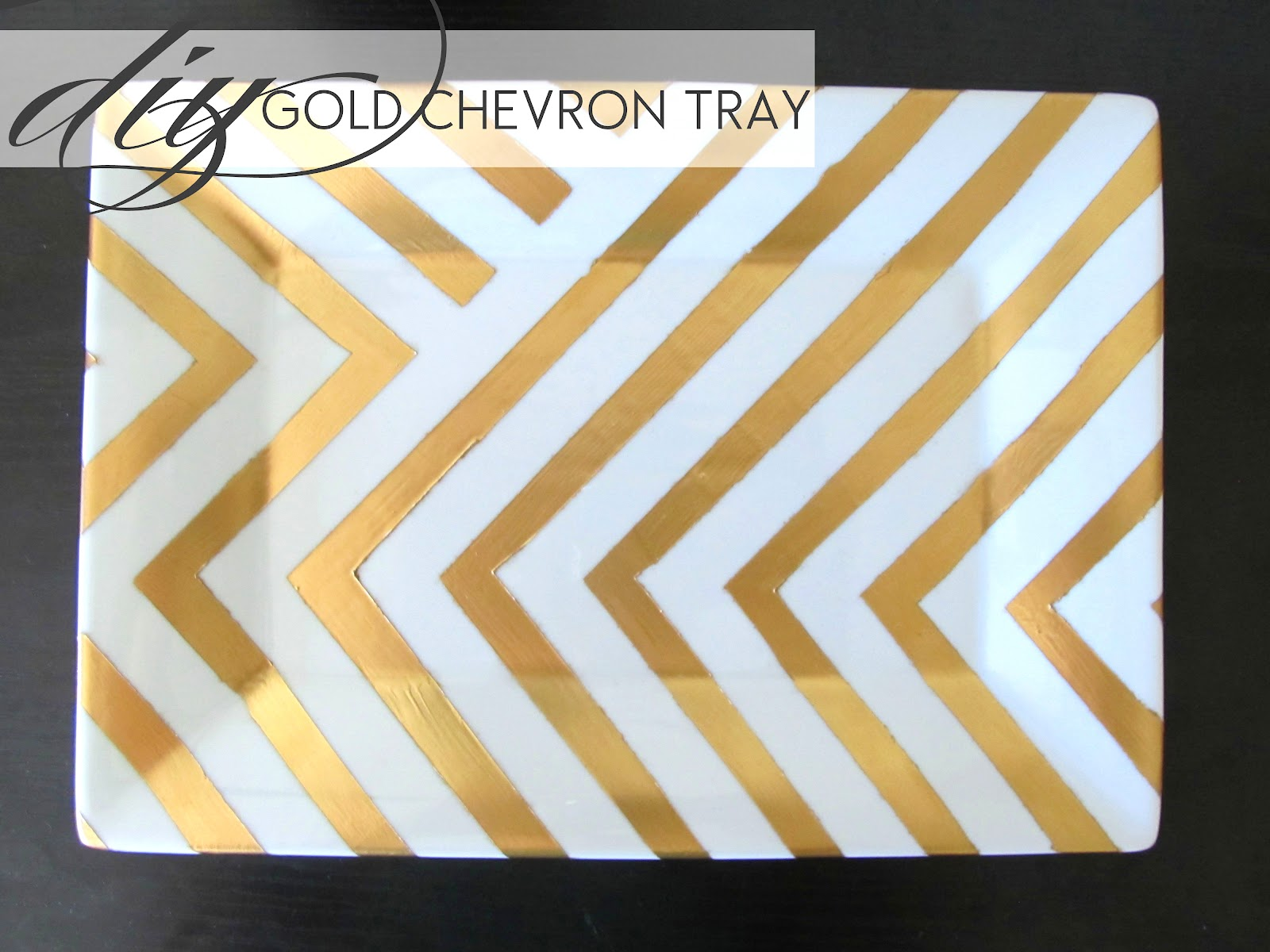 Diy gold chevron side table tray