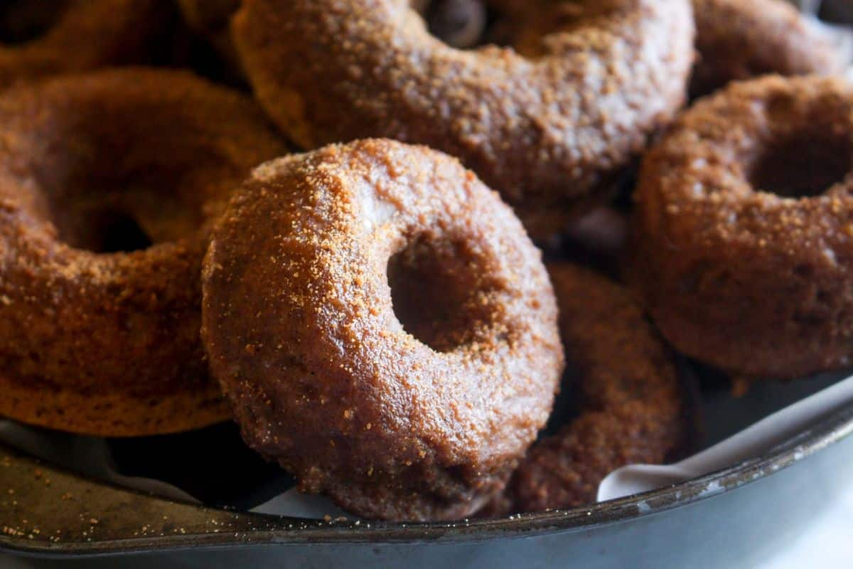 Delicious baked pumpkin donuts with chai spice glaze
