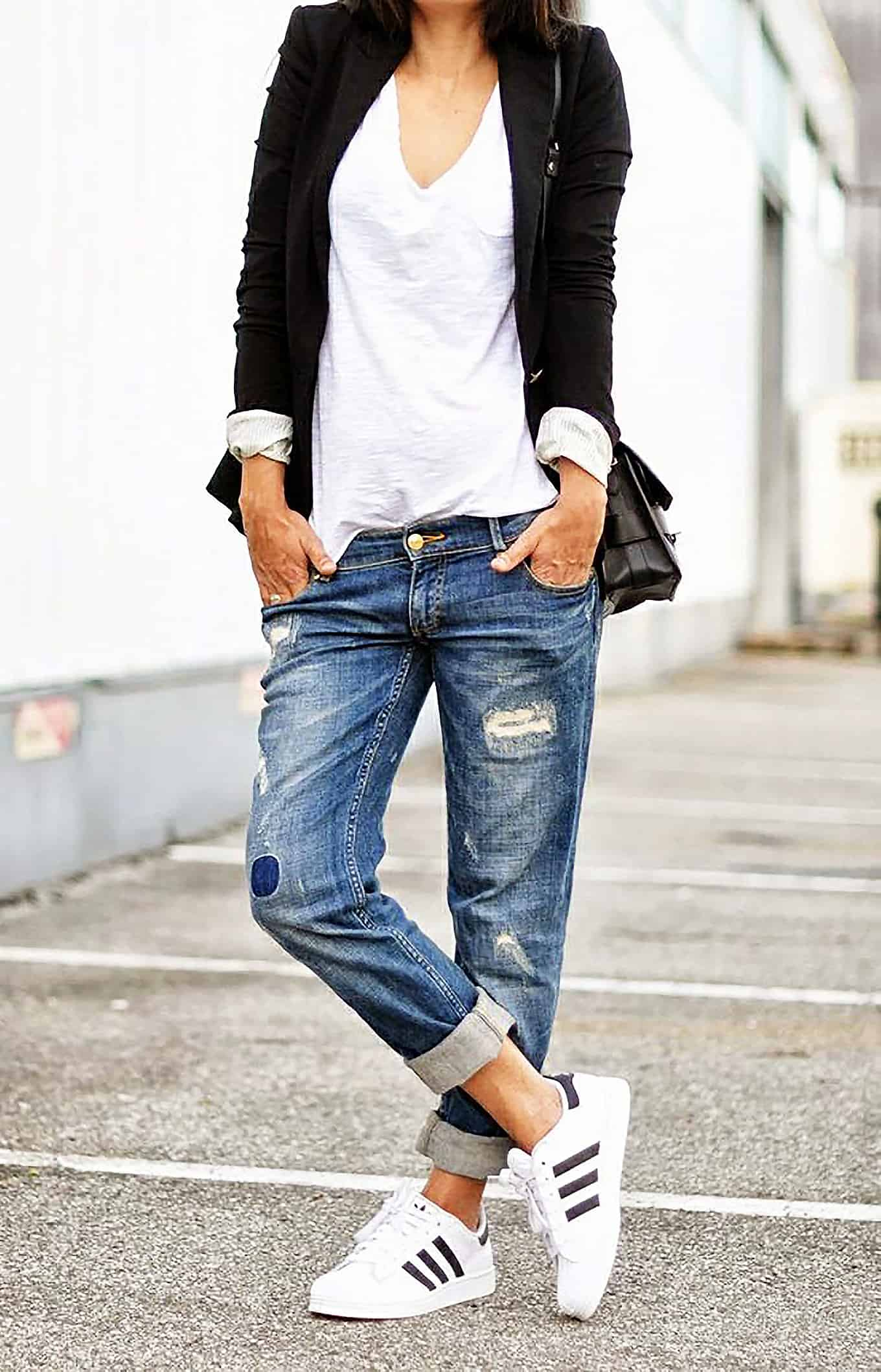 Denim pants comfy weekend outfit ideas