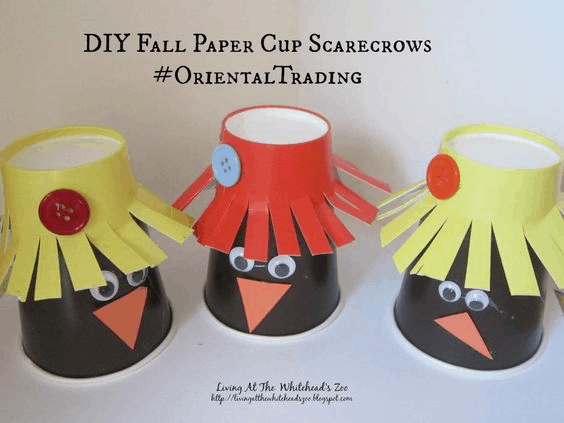 Fall paper scarecrows
