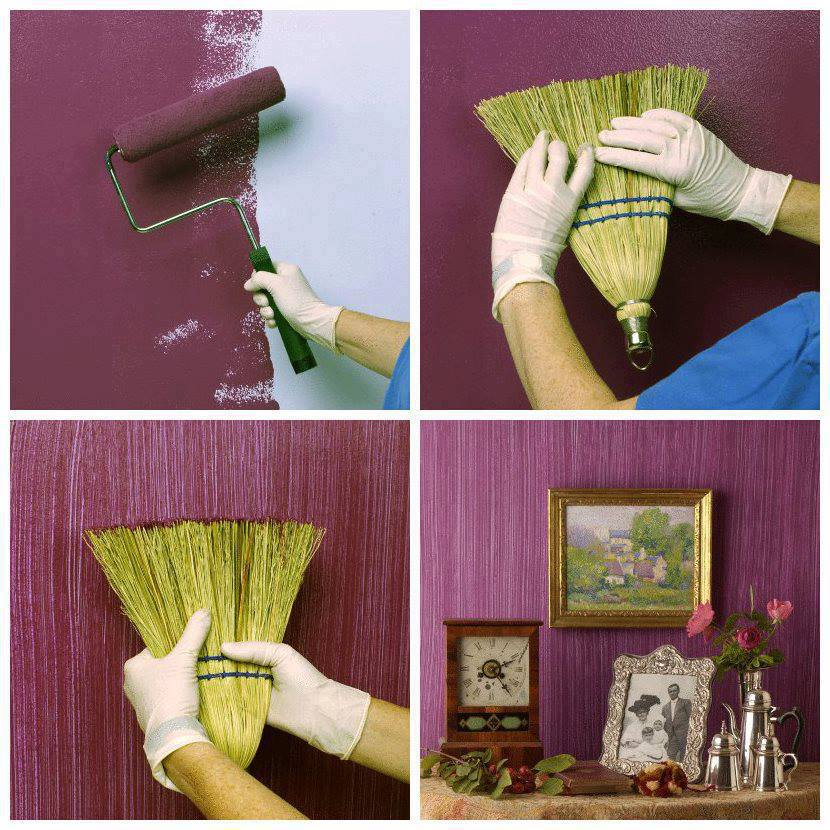 Grass broom wall painting