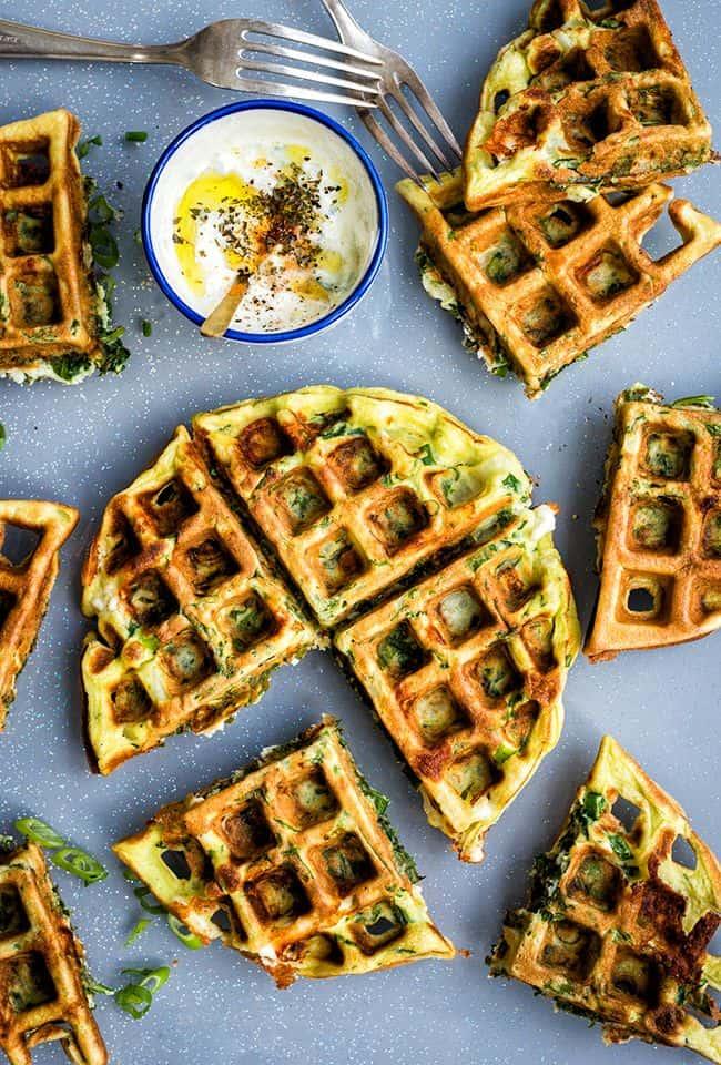 Greek spinach feta waffle frittata