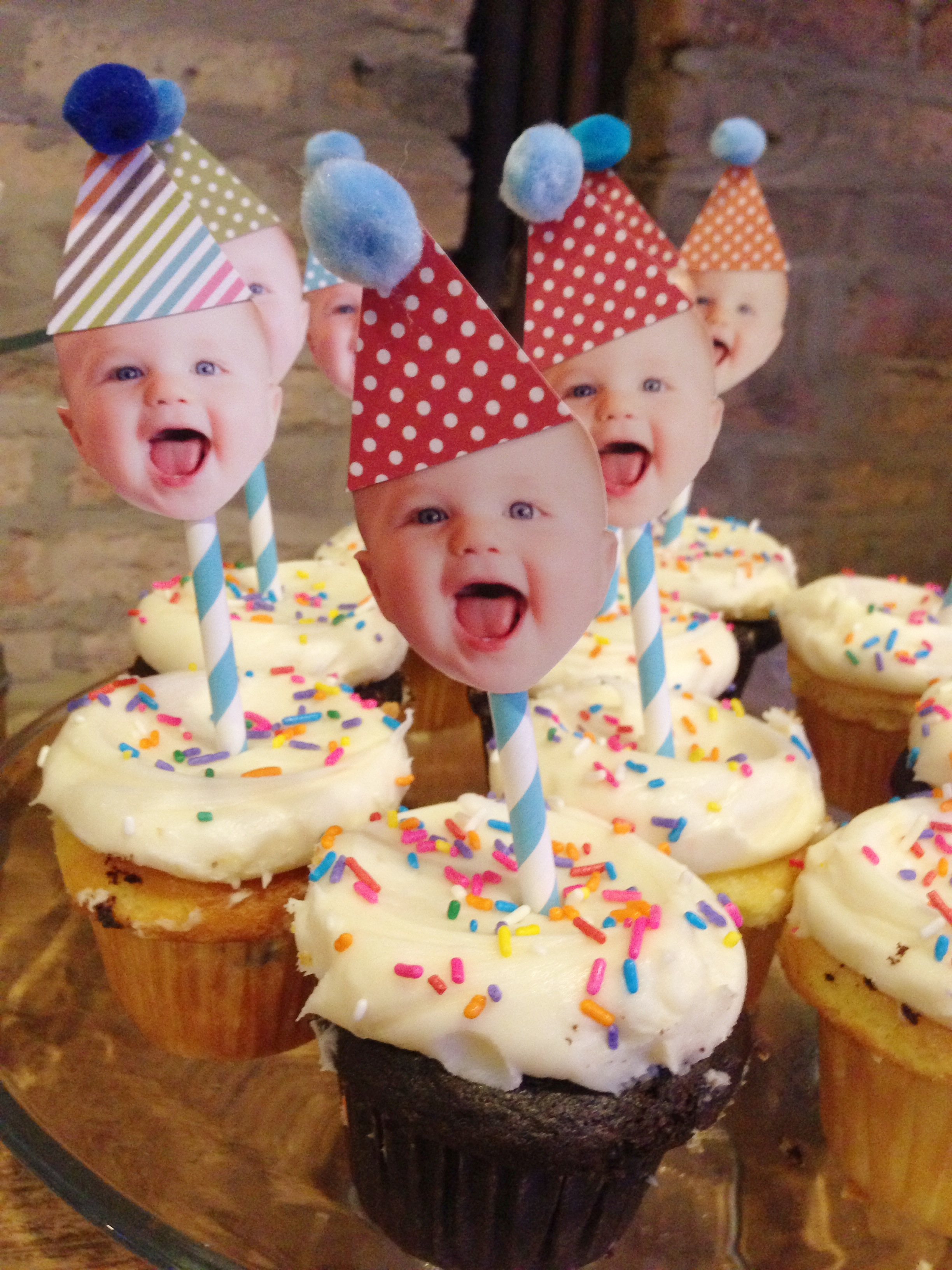 Happy baby party hat toppers