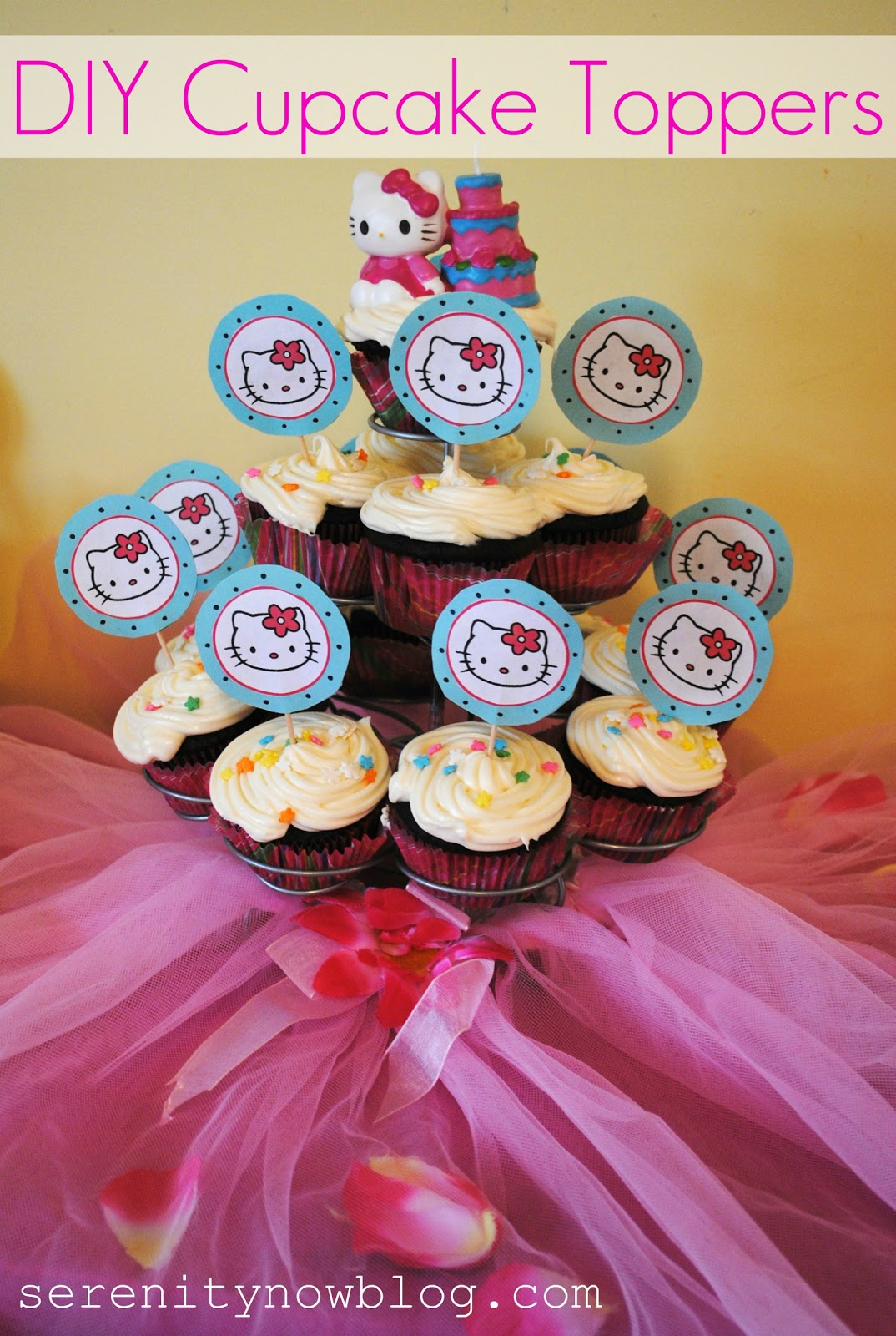 hello kitty cupcake topper template - diy birthday cake toppers