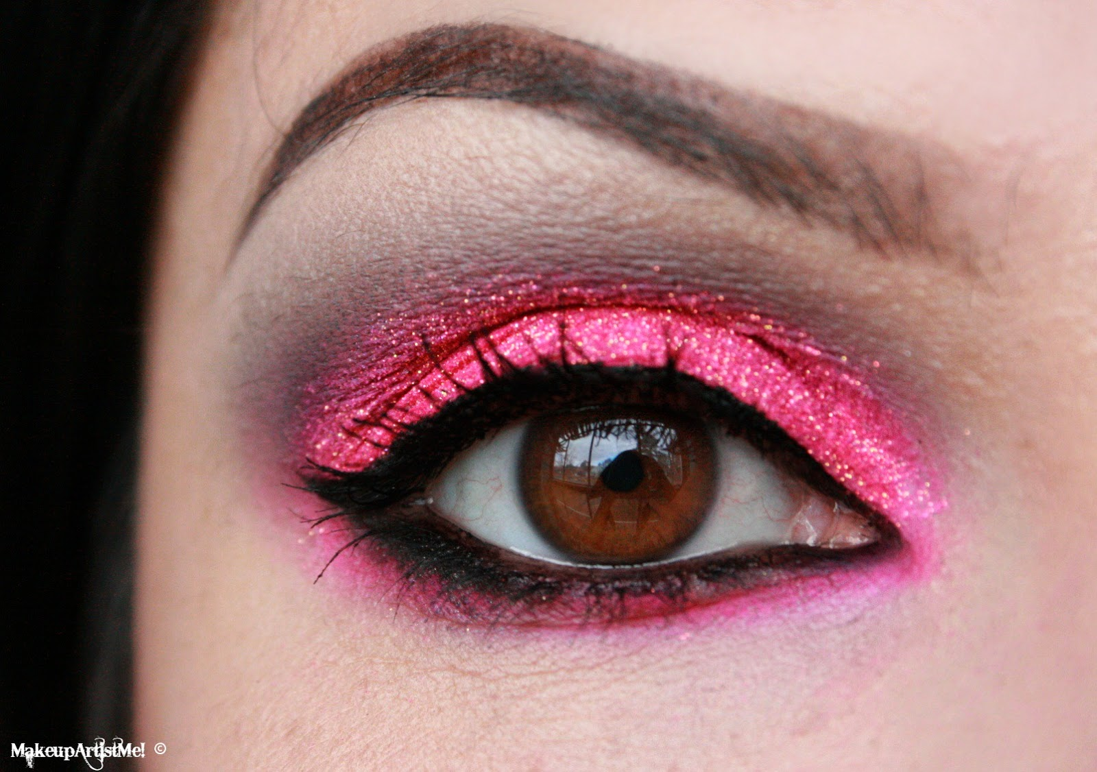 Hot pink glitter with a black wing