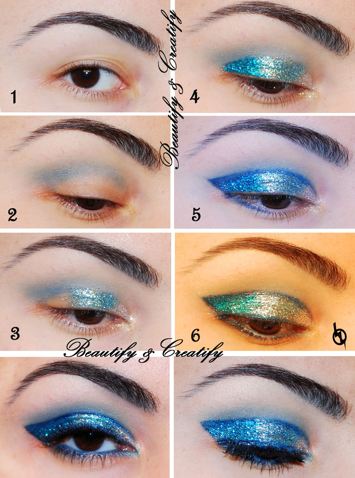 Layered blue glitter lid
