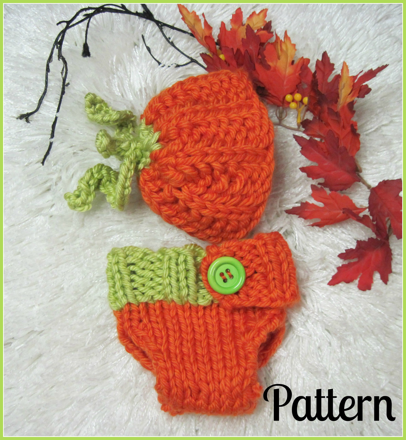 Little pumpkin hat and diaper cover