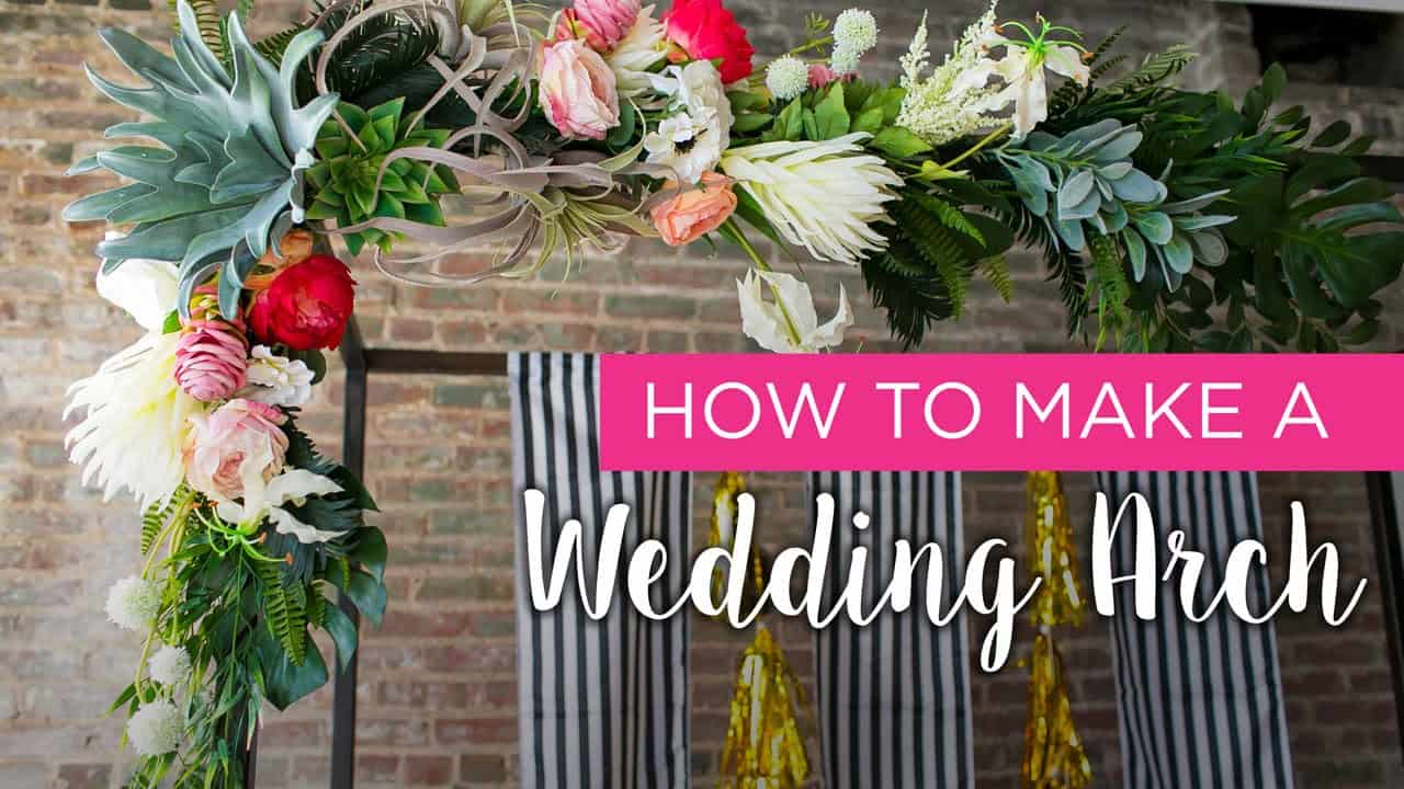 Lush funky floral wedding arch diy