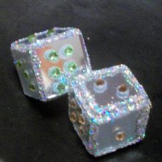 Mirror, rhinestone, and glitter dice