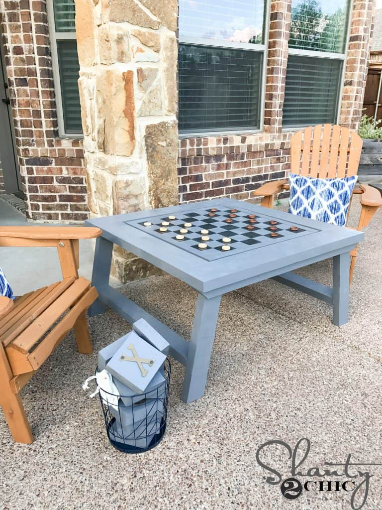 Outdoor checkers table diy