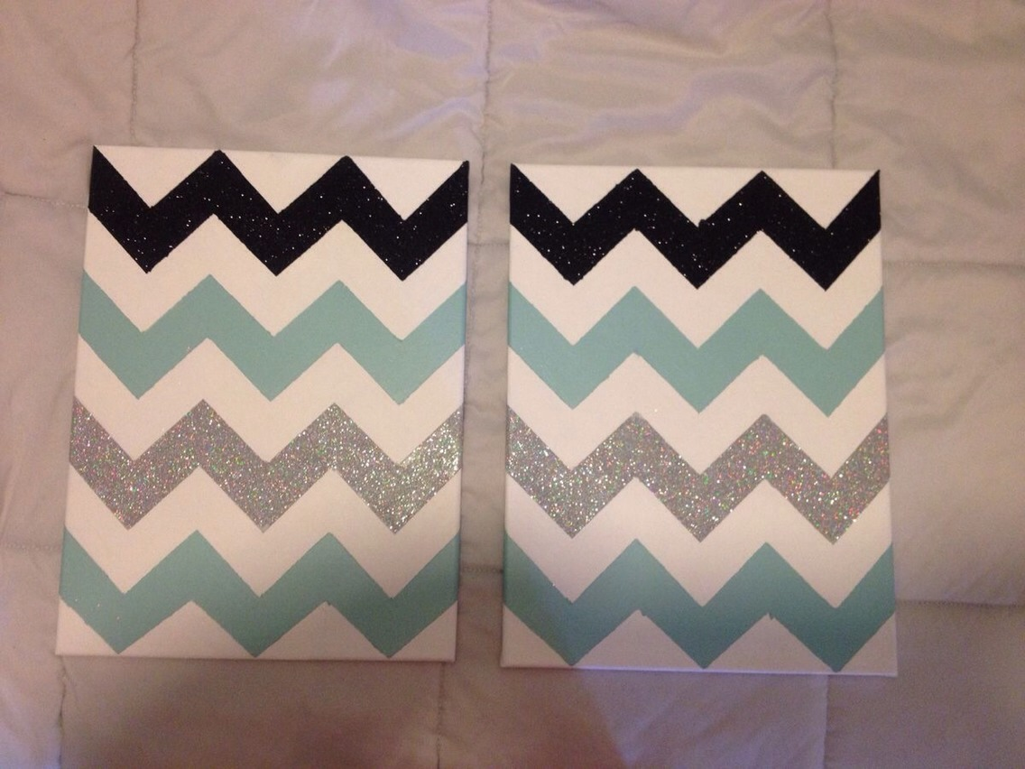 Paint and glitter chevron canvas