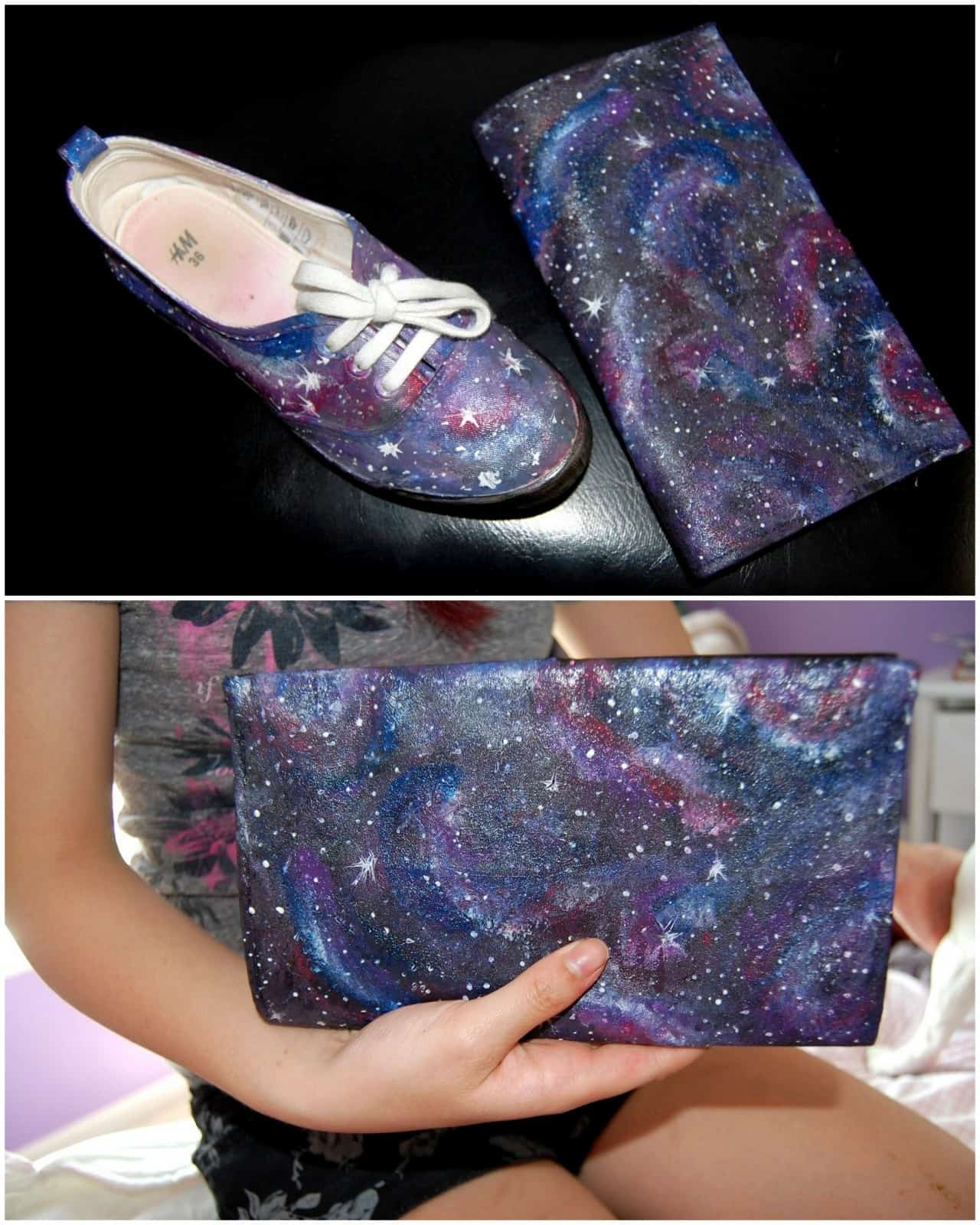 Painted galaxy clutch purse