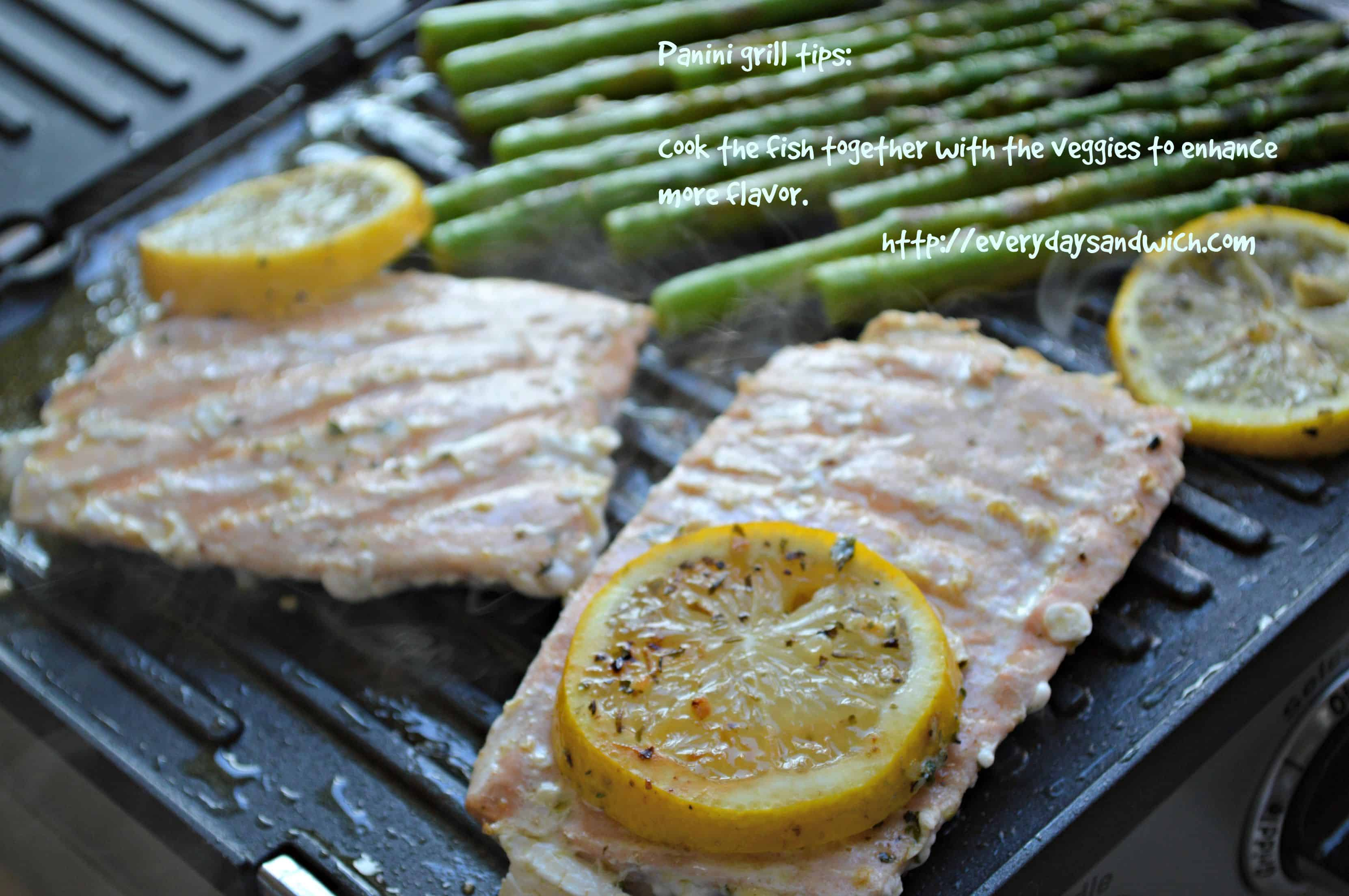Panini grilled salmon and asparagus