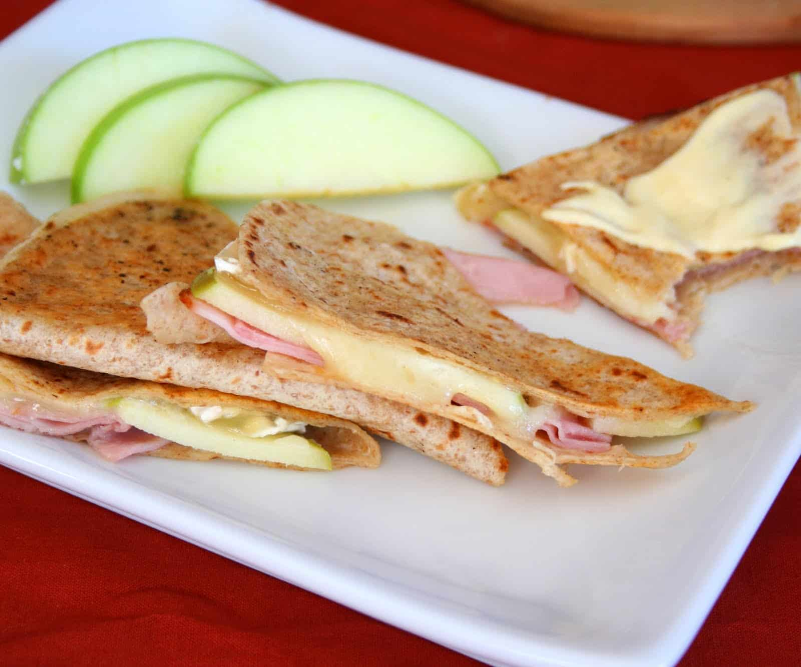 Panini press ham, apple, and brie quesedillas