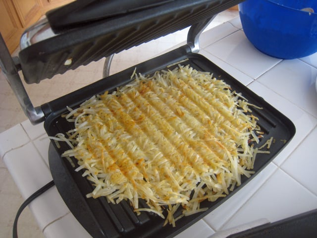 Panini press hashbrowns