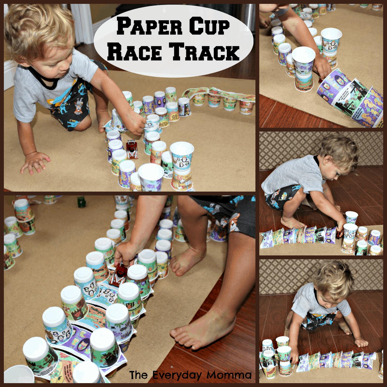 Paper cup racetrack