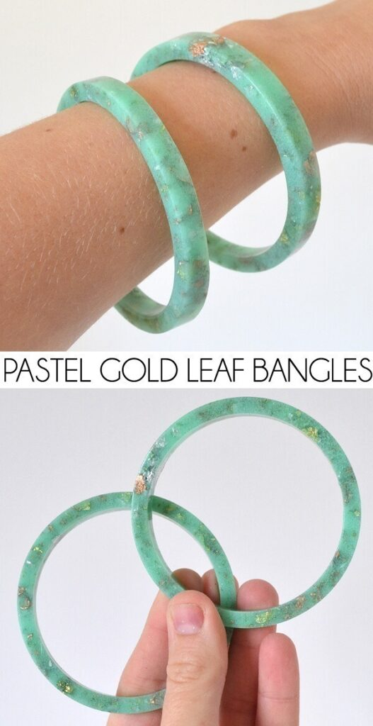 Pastel and golf leaf resin bracelet
