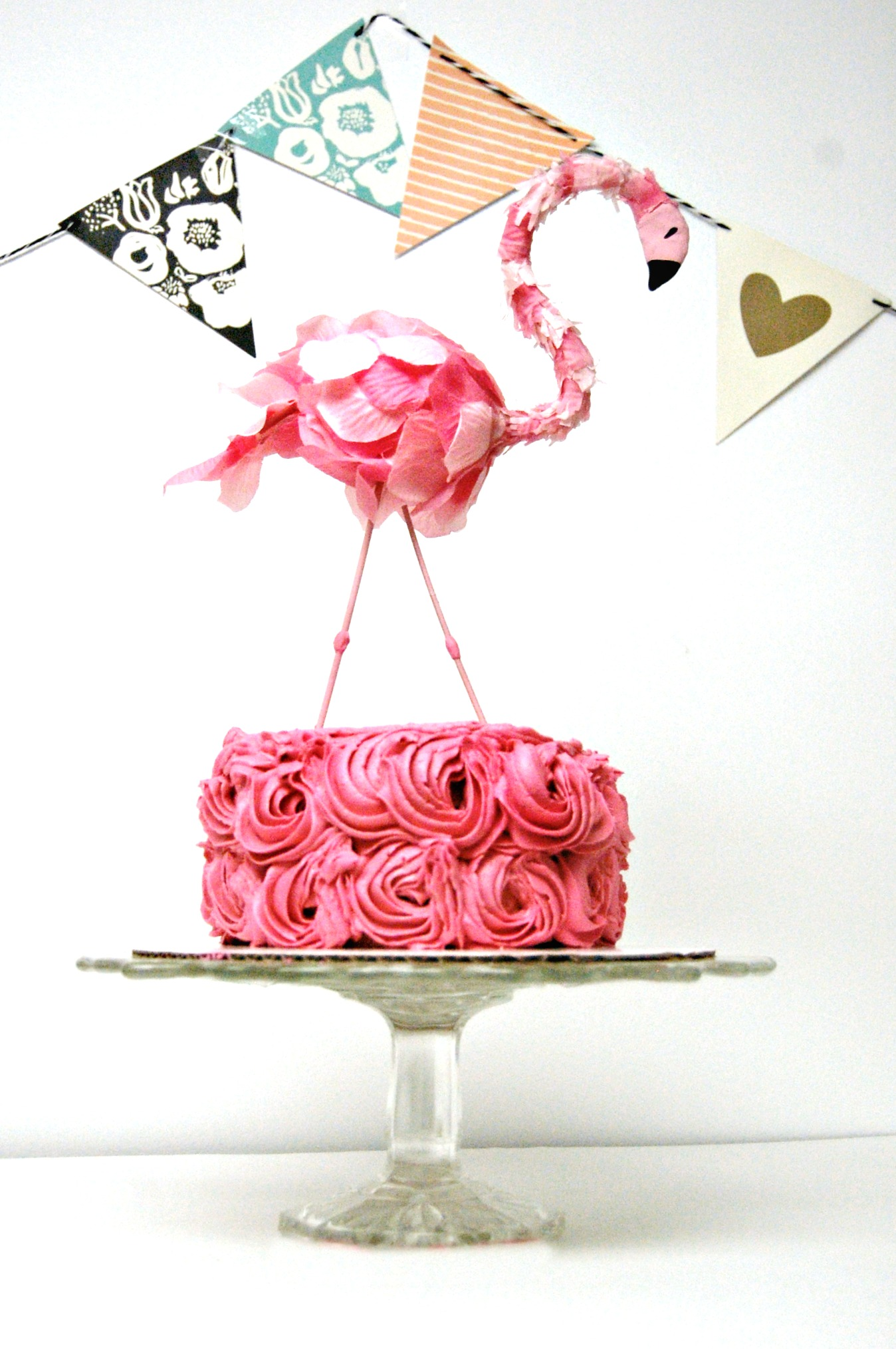 Pink flamingo cake topper
