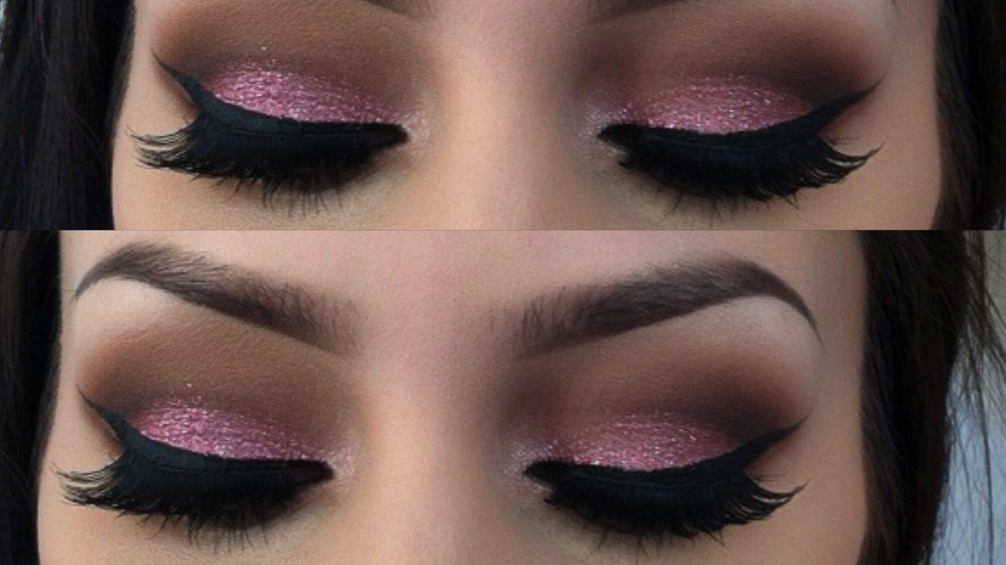 Pink glitter lid with a neutral crease
