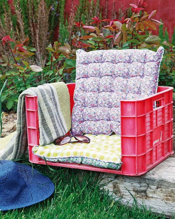 Plastic crate and cushion log chair