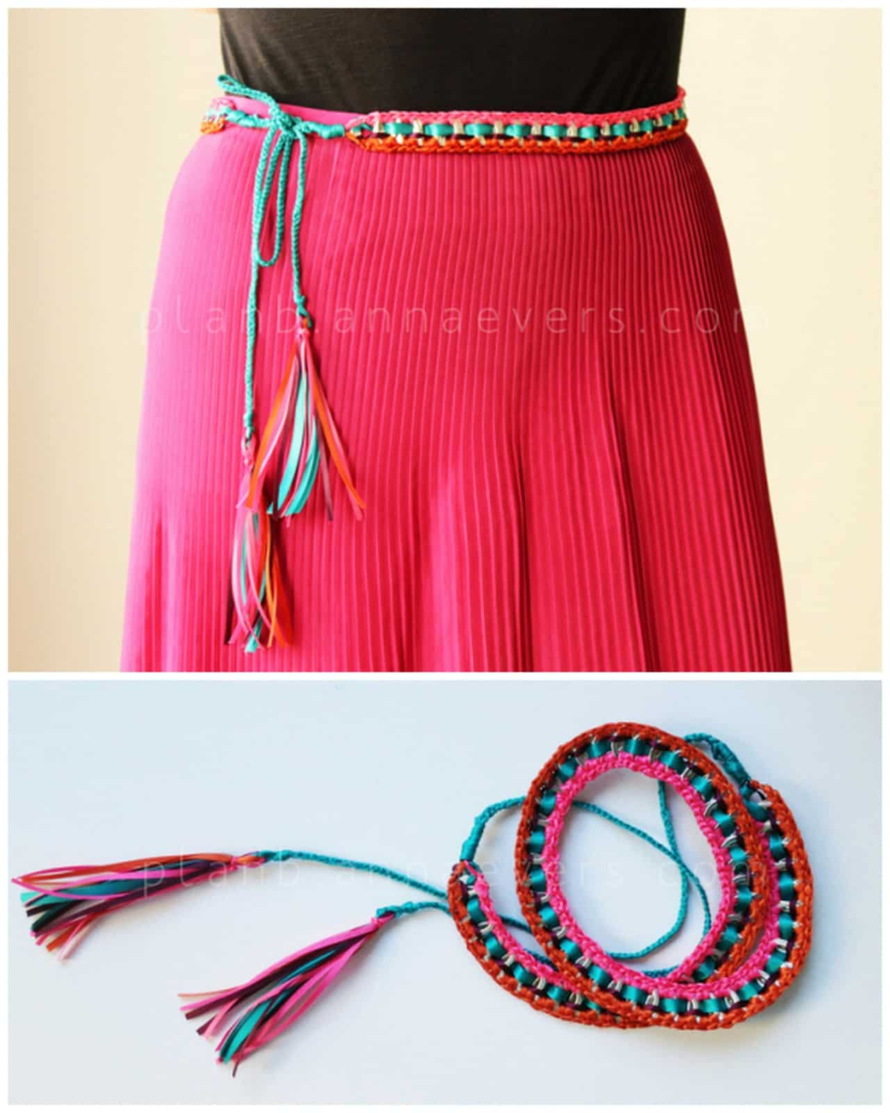 Pop tab and embroidery floss belt