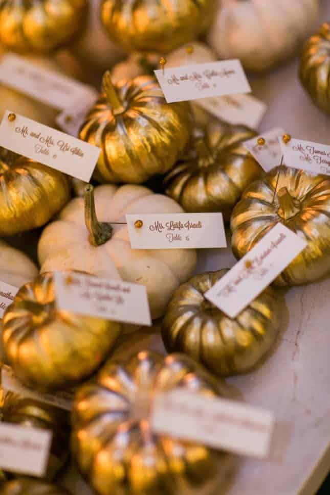 Pumpkin escort cards diy