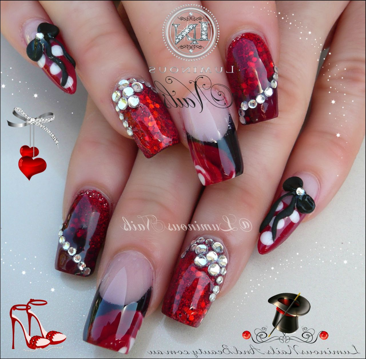 Diy acrylic nail designs rhinestones and 3d bows acrylic art prinsesfo Image collections