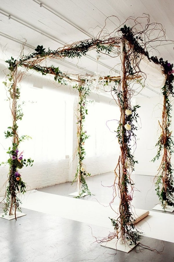 Rustic twig wedding arch diy