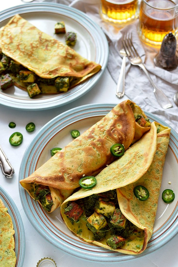 Savoury pancakes with spinach and paneer filling - get your greens in with this easy, delicious vegetarian meal.