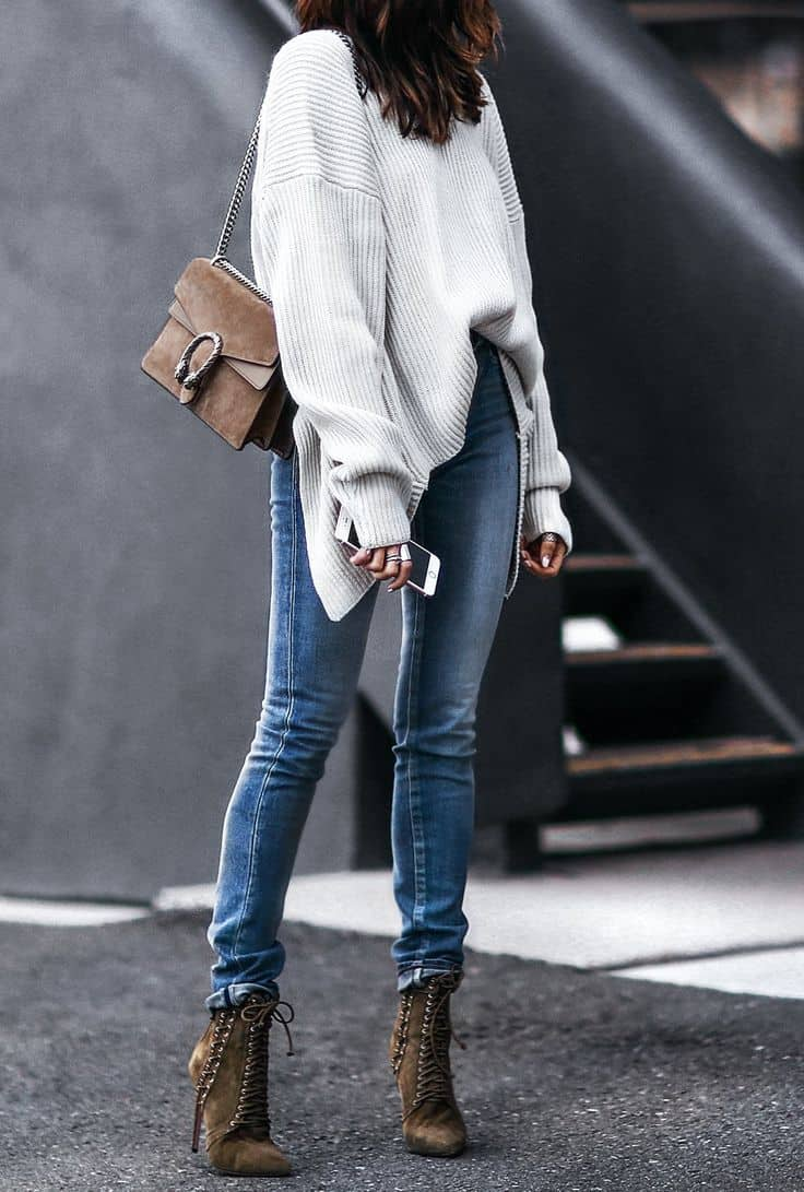 Slouchy sweater with skinnies and boots