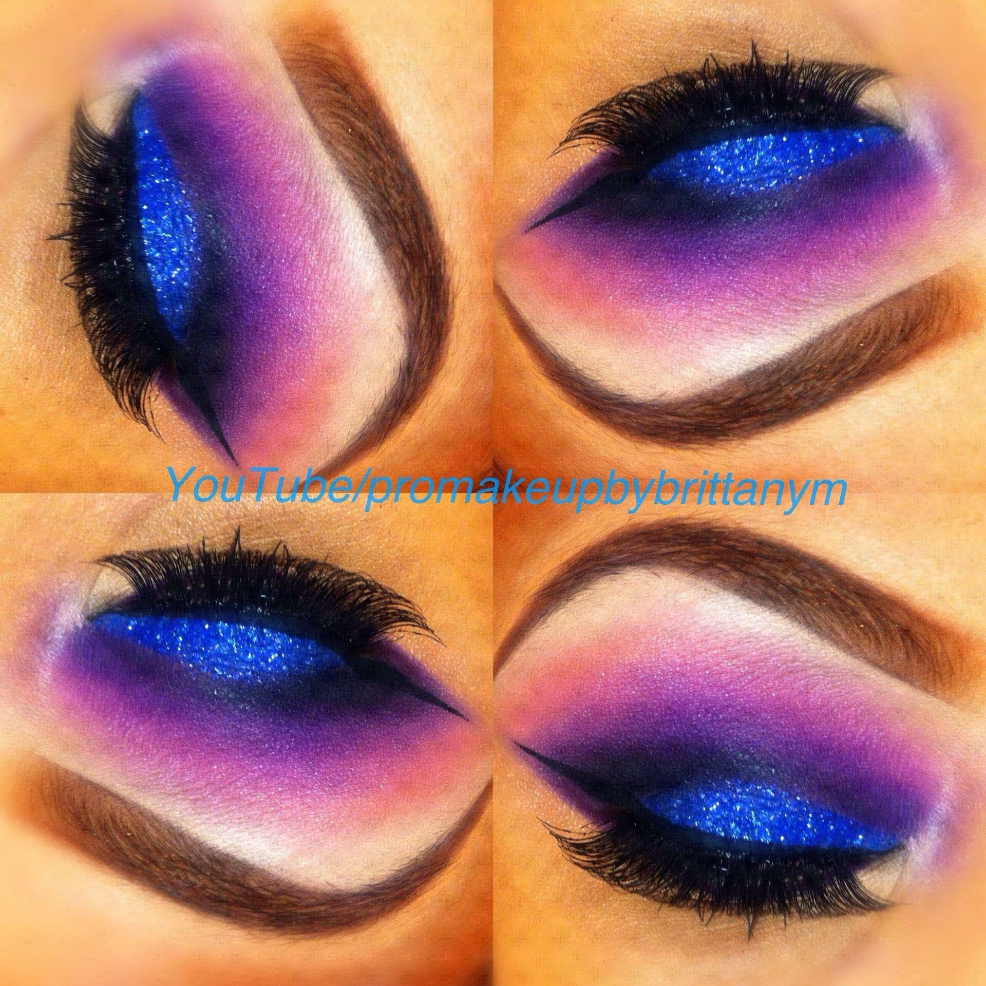 Sparkling blue lid with a blended magenta crease
