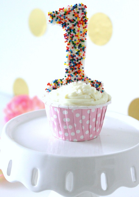 Sprinkle number cake topper
