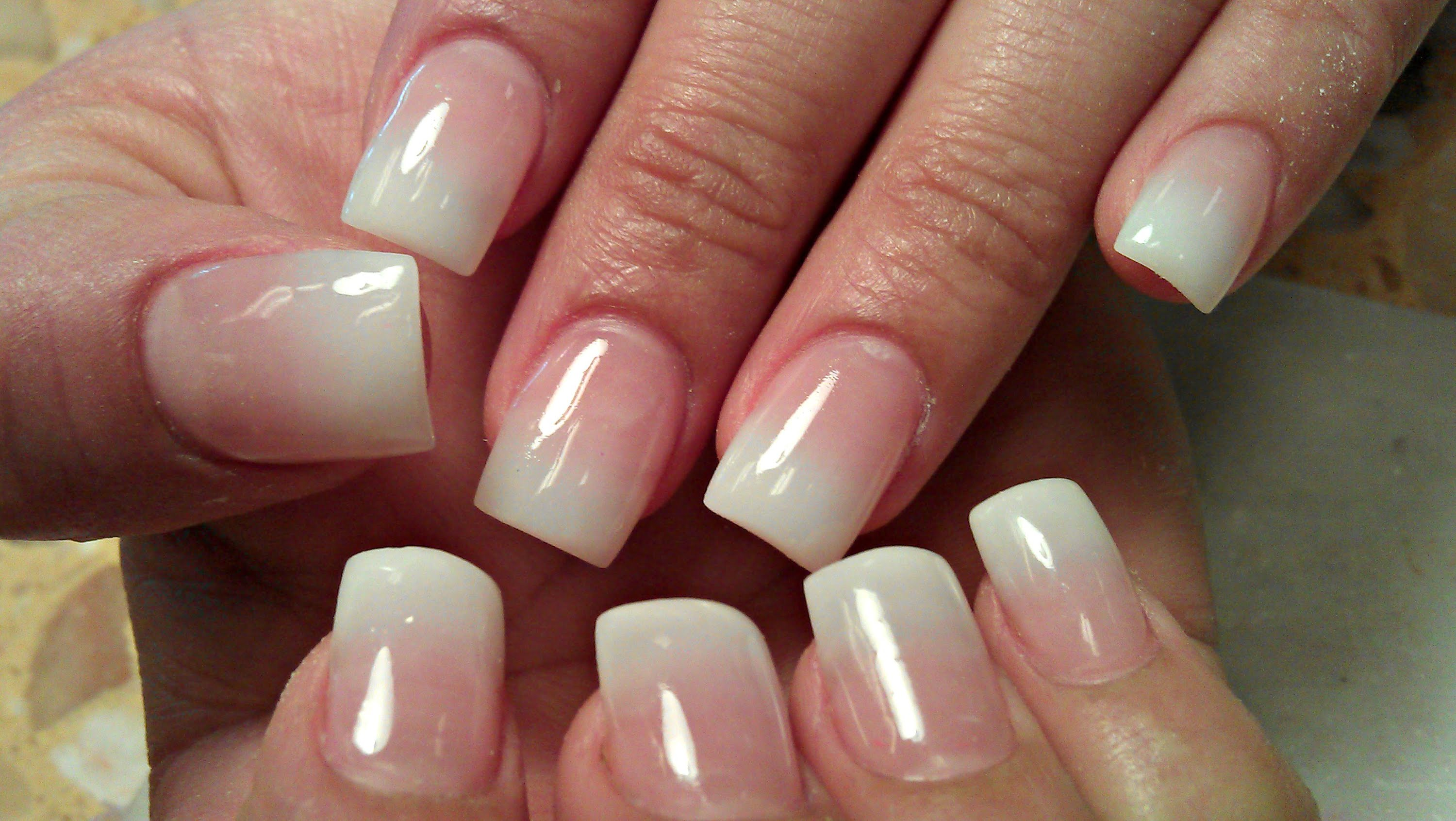 pink and white ombre nails - HD 3000×1691