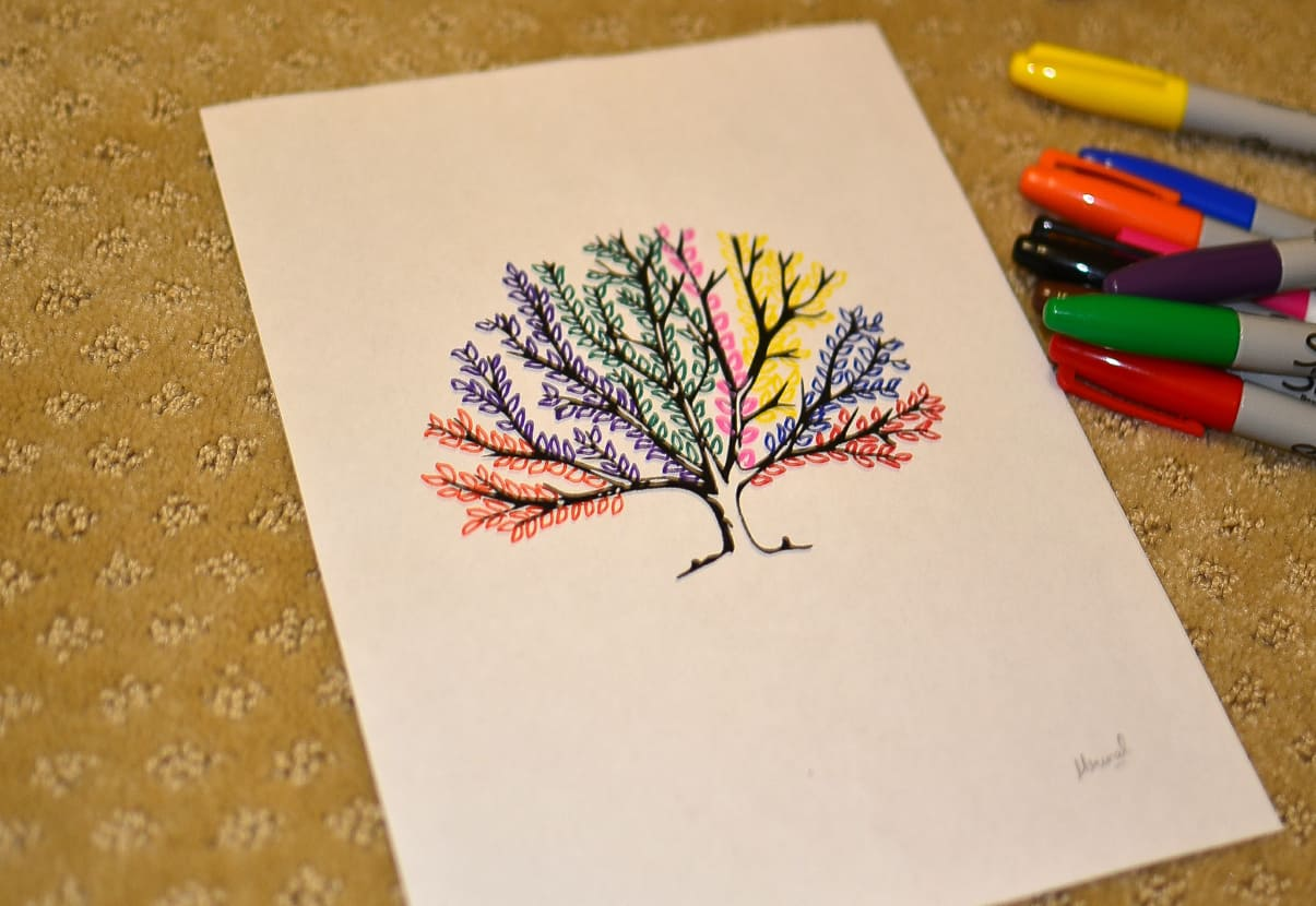 Tree leaf art sharpie diy