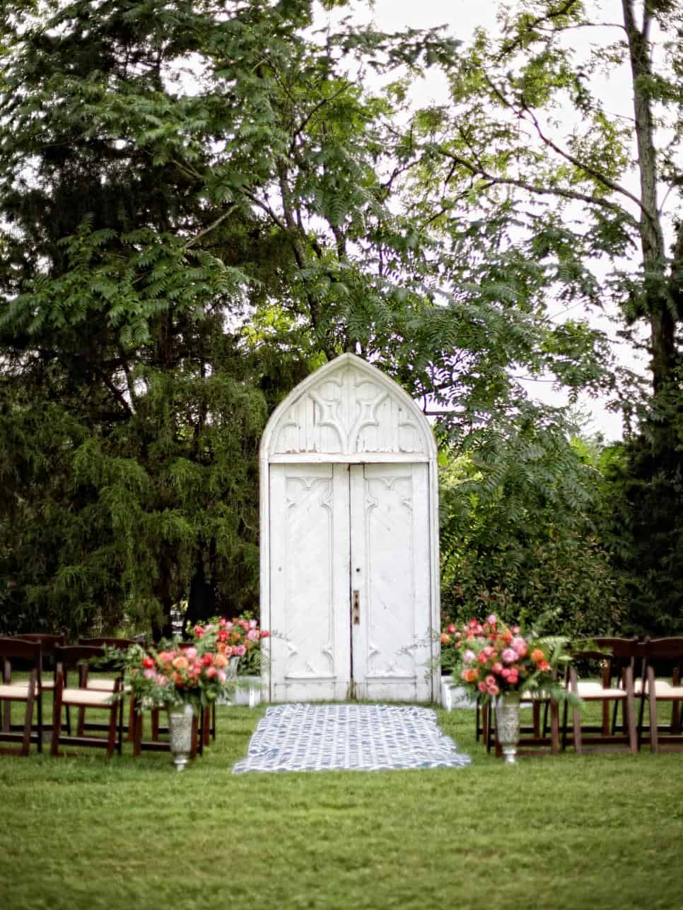 Vintage church door wedding arch diy