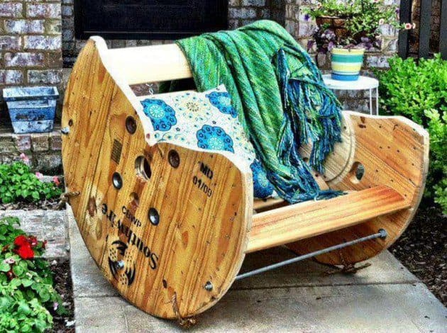 Wooden cable spool rocking chair