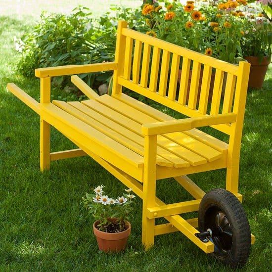 Wooden wheelbarrow style bench