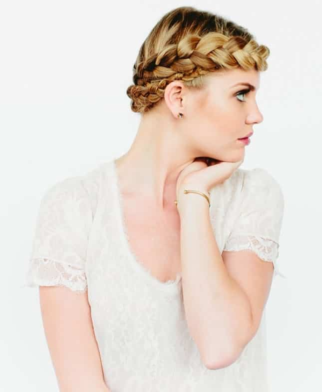 Crown braid hairdo