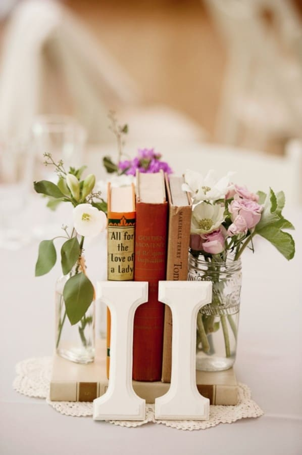 Diy antique books wedding centerpiece